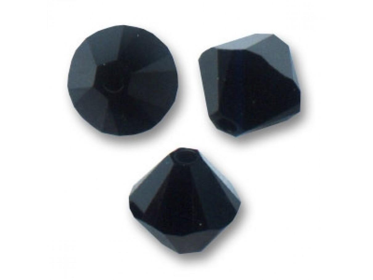 Swarovski crystal 4mm bicone, Jet (sort), 10 stk