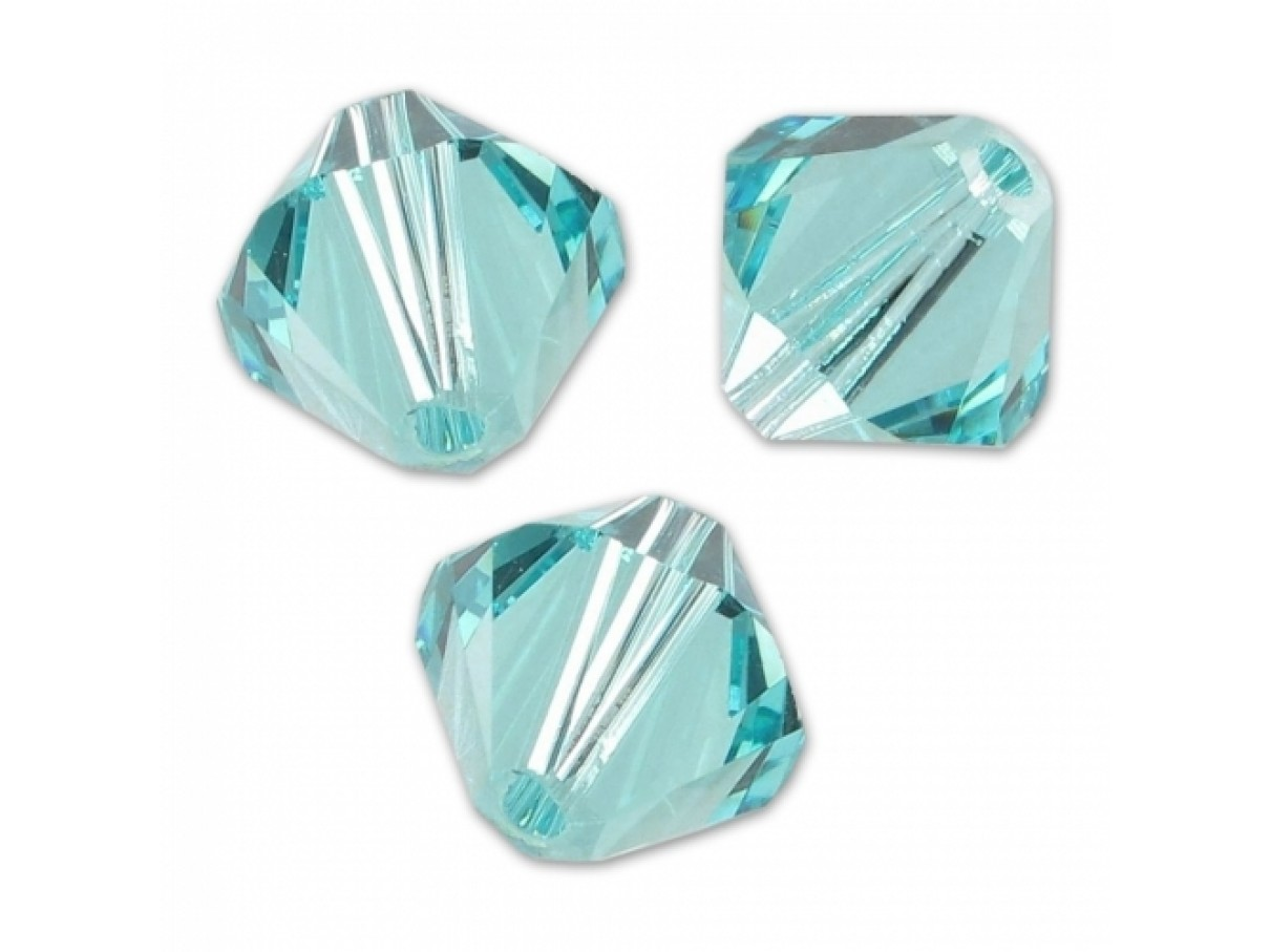 Swarovski crystal 4mm bicone, light turquoise, 10 stk