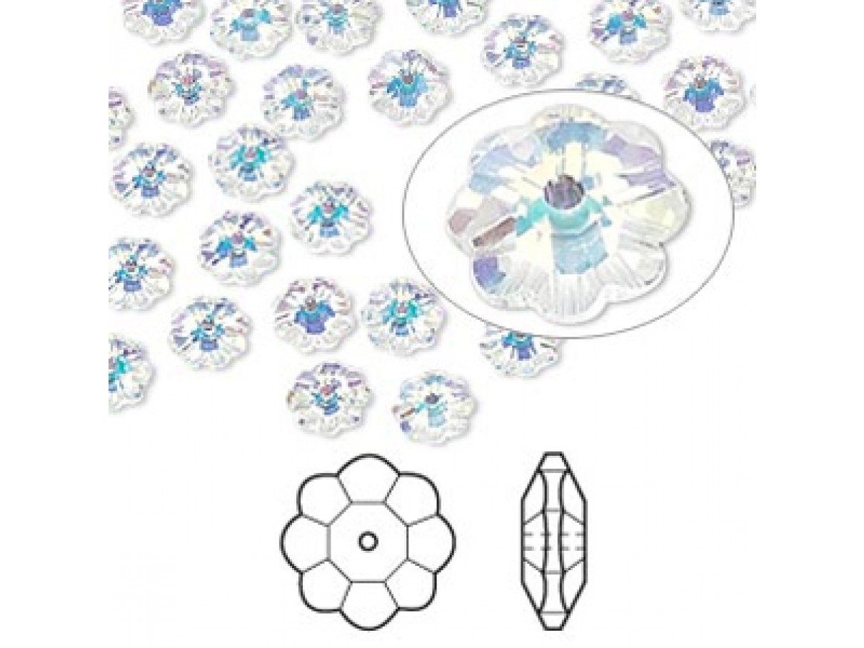 Swarovski® crystal, 6mm marguerite lochrose flower, Crystal AB