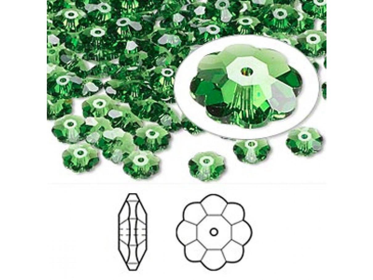 Swarovski® crystal, 6mm marguerite lochrose flower, Fern green