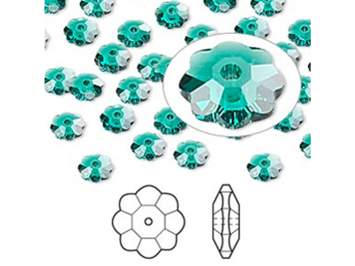 Swarovski® crystal, 6mm marguerite lochrose flower, Emerald