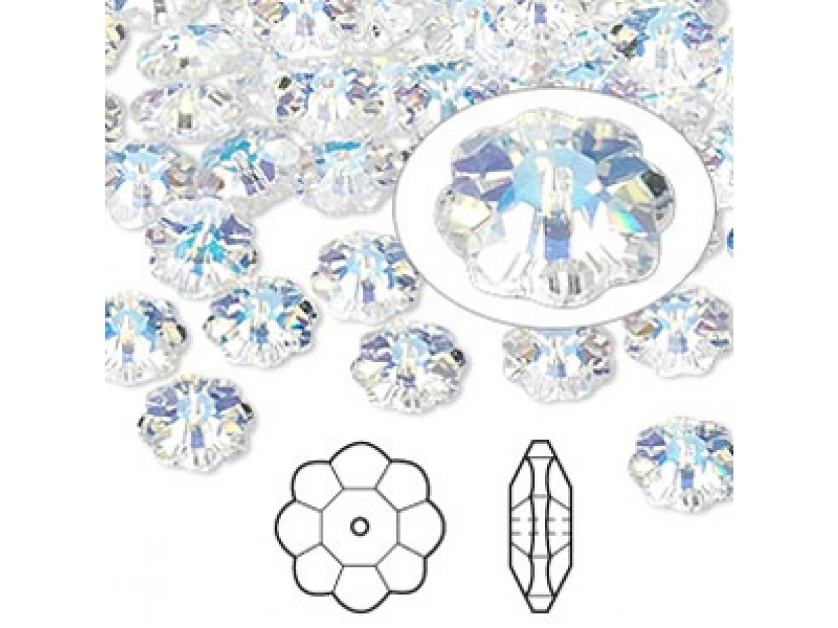 Swarovski® crystal, 8mm marguerite lochrose flower, Crystal AB