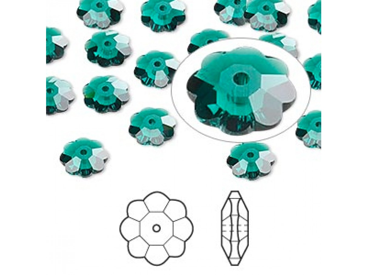 Swarovski® crystal, 8mm marguerite lochrose flower, Emerald