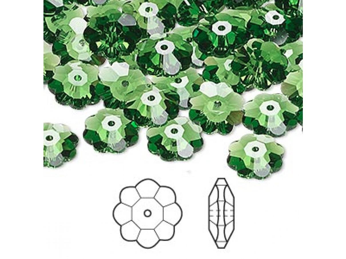 Swarovski® crystal, 10mm marguerite lochrose flower, Fern green