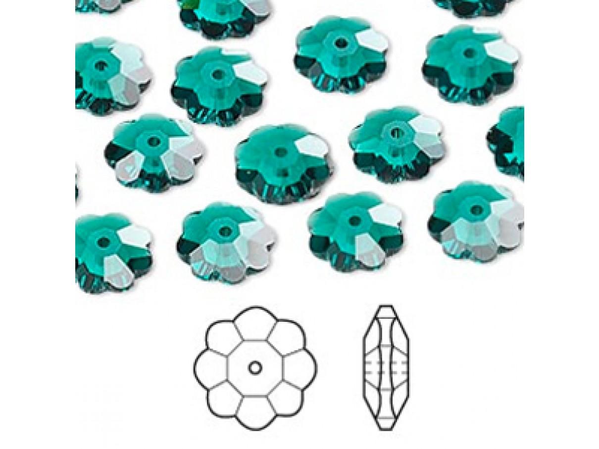 Swarovski® crystal, 10mm marguerite lochrose flower, Emerald