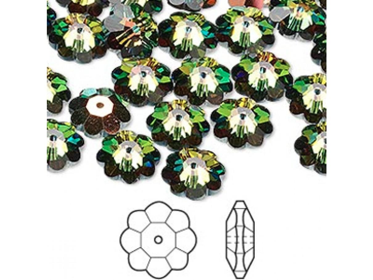 Swarovski® crystal, 10mm marguerite lochrose flower, Crystal vitrail medium