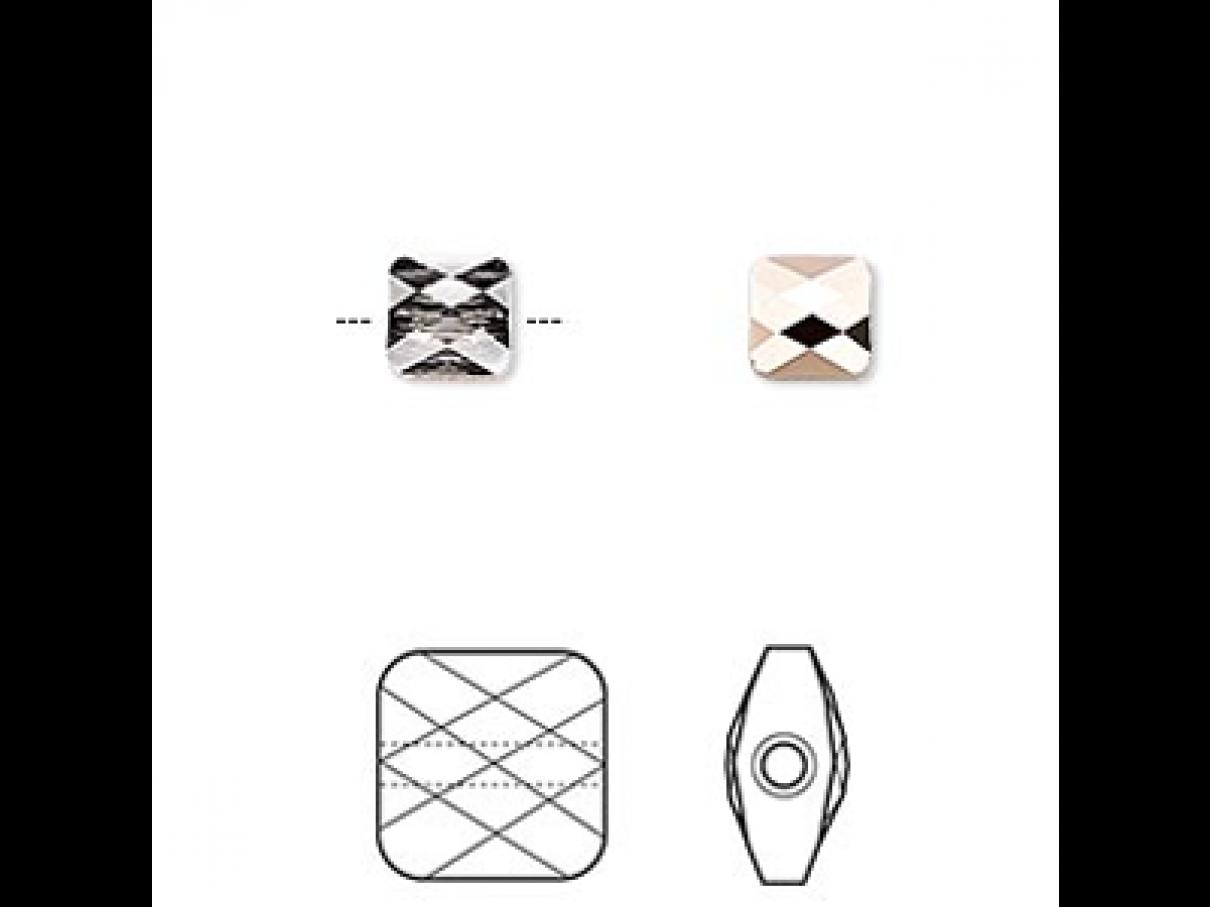 Swarovski crystal, 6mm facetslebet mini square, crystal rose gold-30
