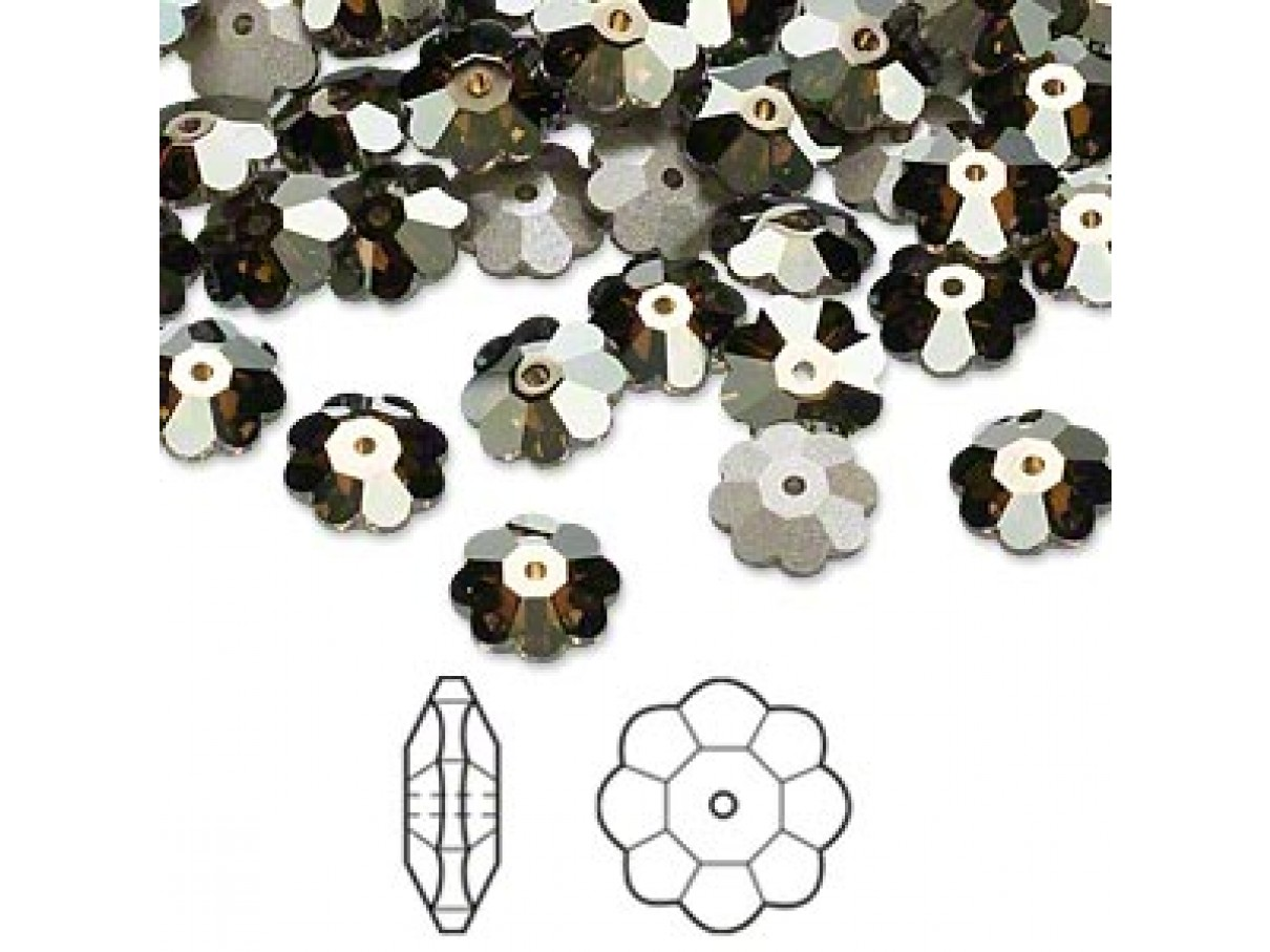 Swarovski® crystal, 8mm marguerite lochrose flower, Crystal bronze shade, foil back