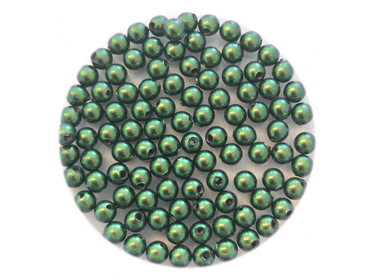 3mm swarovski pearls scarabaeus green