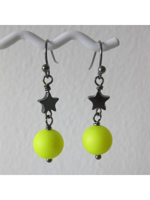 Øreringe, neon gul and stjerner-3