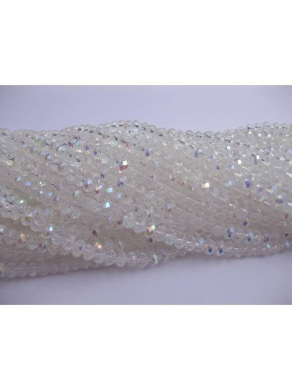 Facetslebne glasperler, krystal AB 3x4mm-36