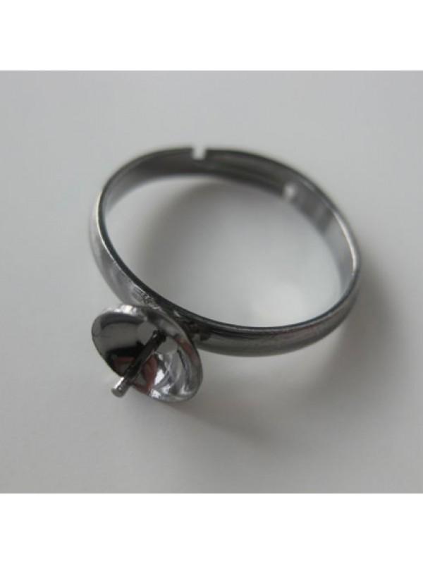 Justerbar fingerring til anboret perle, gunmetal-3