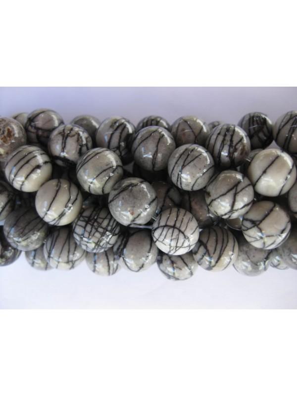 Black veined jaspis, rund 12mm-3