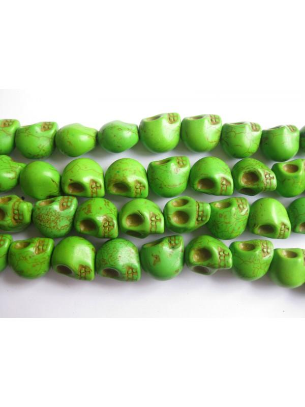 Magnesit skulls, grøn 10x12mm-3