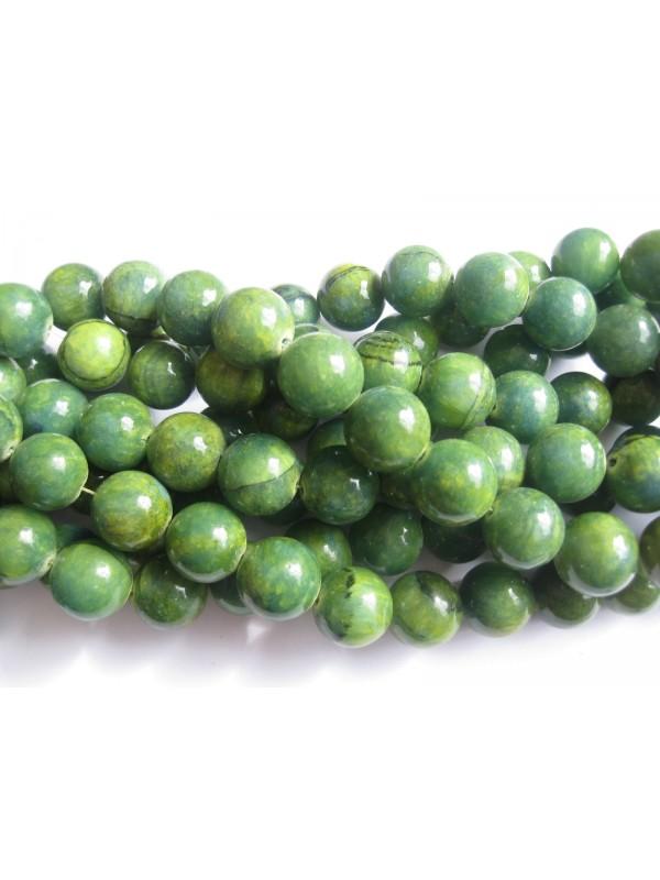 Gul-grøn mashan jade, rund 16mm-3