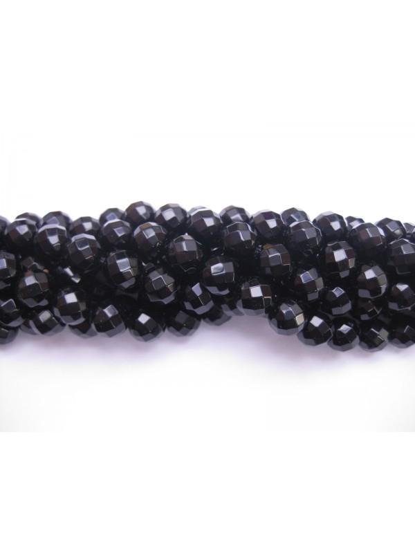 Onyx, sort facetslebet rund 10mm (64 facetter)-3