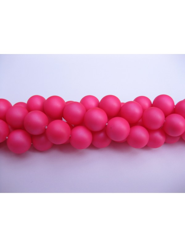 Frosted shell pearl, neon pink 6mm-3