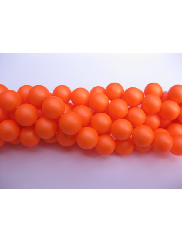 Frosted shell pearl, neon orange 6mm-3