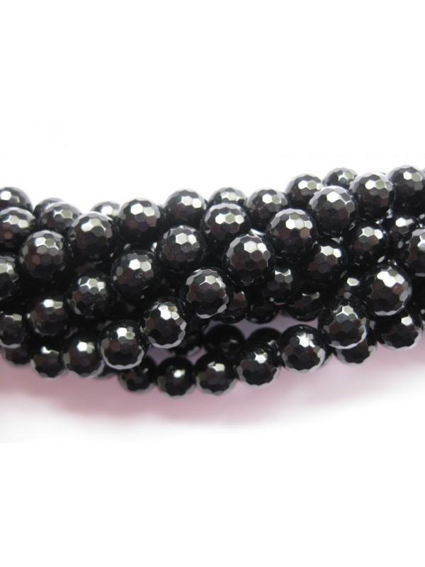 Onyx, sort facetslebet rund 16mm (128 facetter)-3
