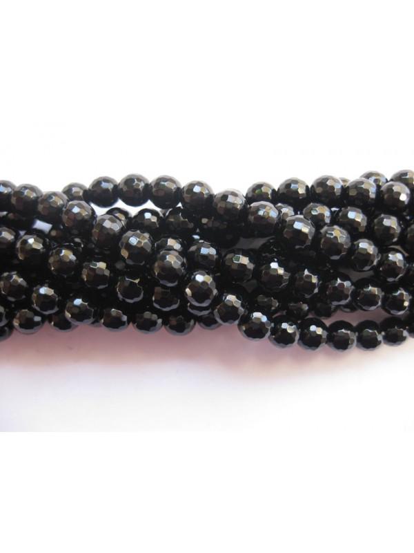 Onyx, sort facetslebet rund 6mm (128 facetter)-3