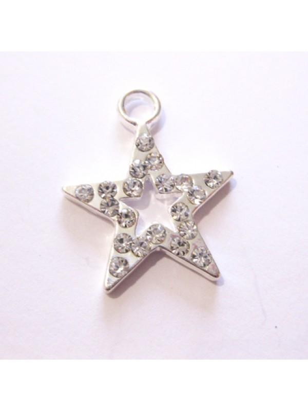 Sølvbelagt stjerne vedhæng med rhinsten-3
