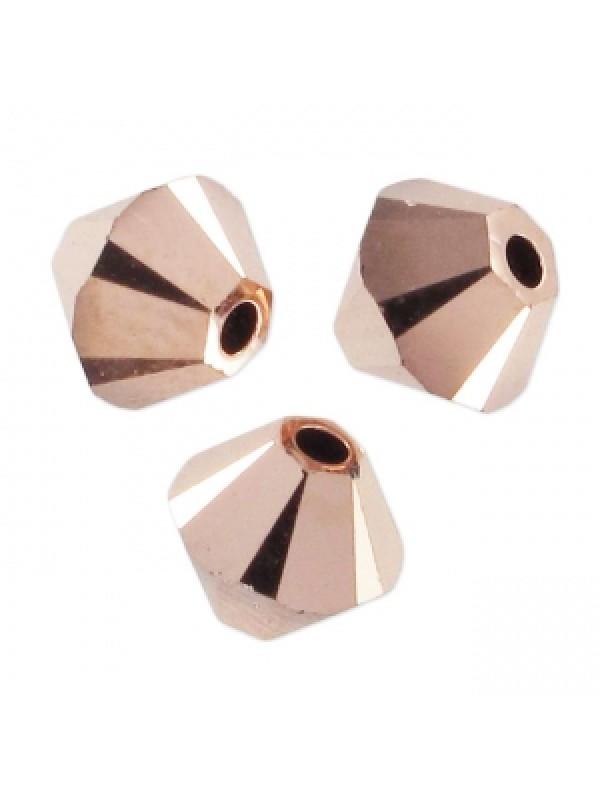 Swarovski crystal 3mm bicone, Crystal Rose Gold 2X, 10 stk-30