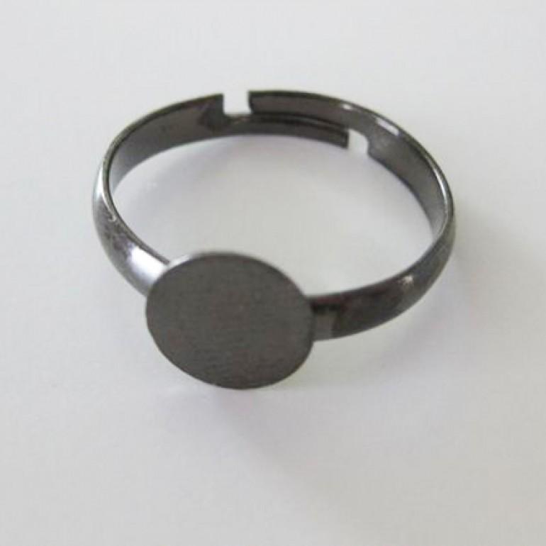 Gunmetal fingerring med 8mm plade, justerbar-3