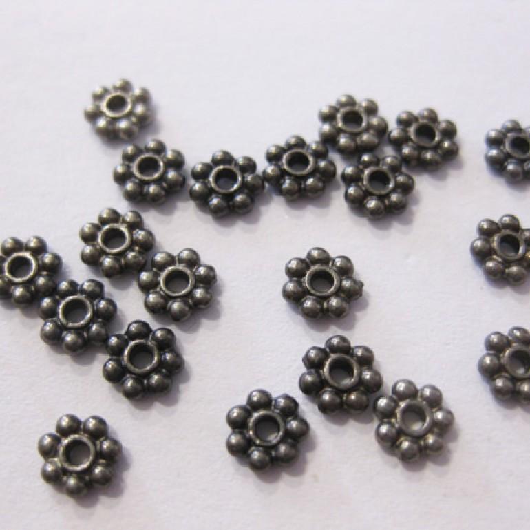 4x1,5mm sorte blomster mellemled, 20 stk-3