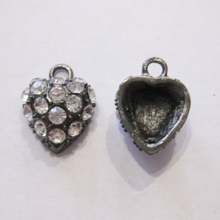 Hjerte vedhæng, gunmetal med klare rhinsten-3