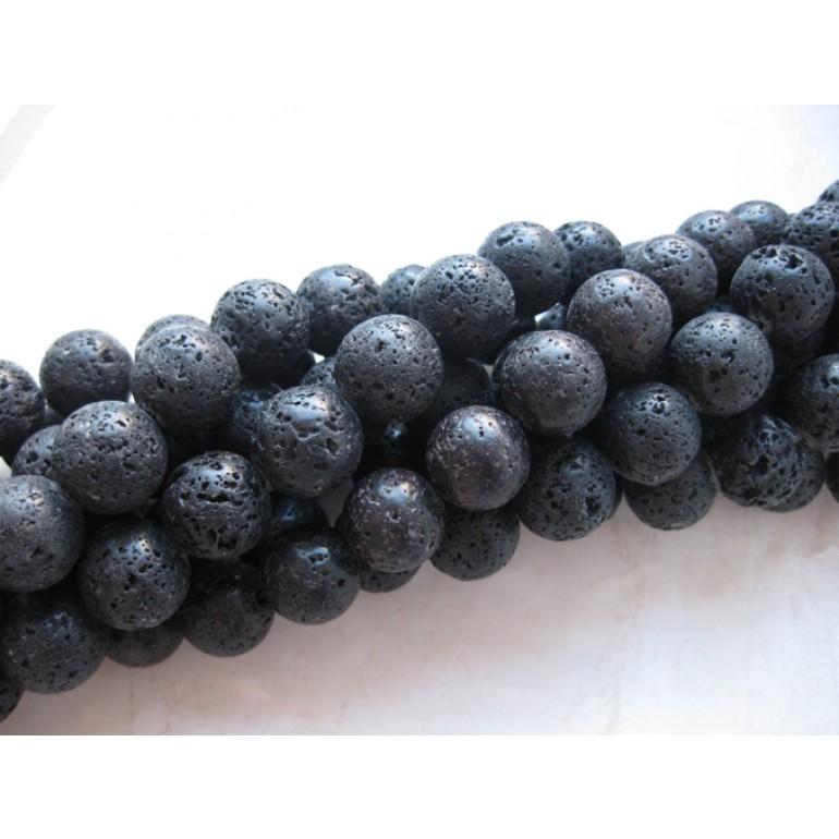 Lava, sort rund 14mm, hel streng-31