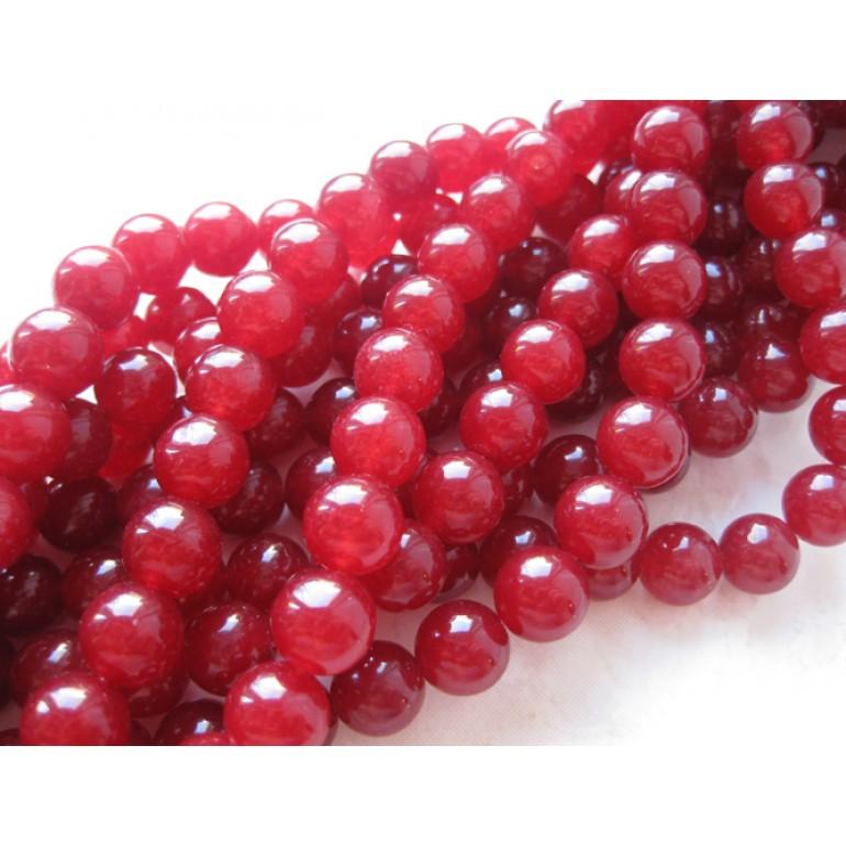 Farvet jade, rød rund 10mm-3