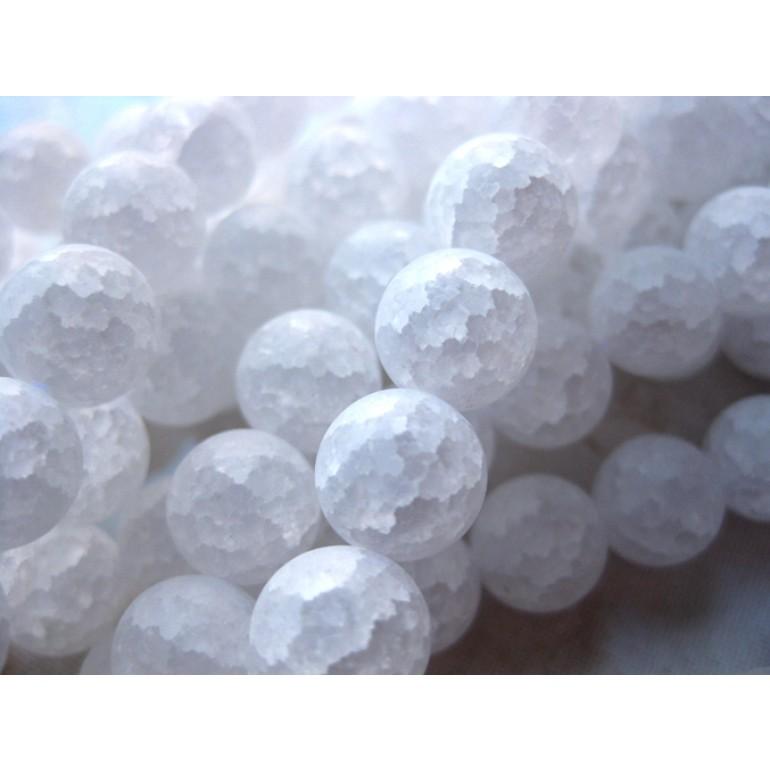 Krakkeleret krystal, mat rund 14mm-3