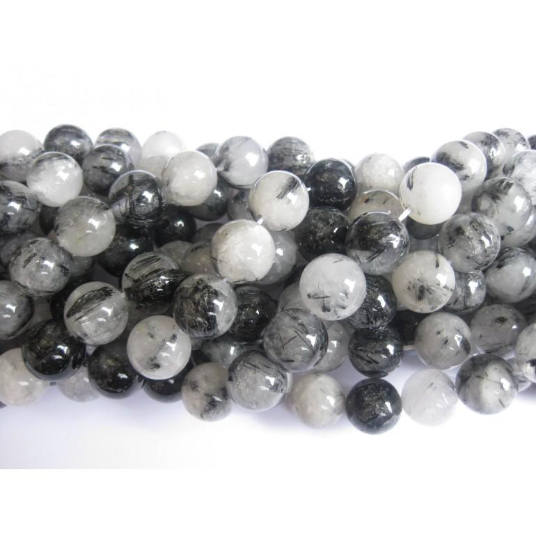 12mm sort rutilkvarts perler