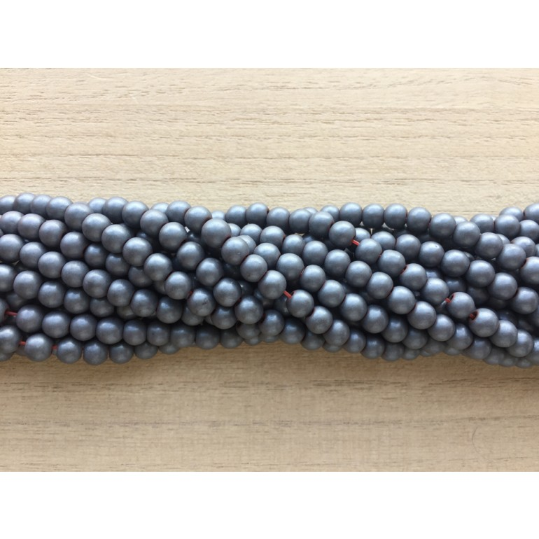 5mm frosted hematite