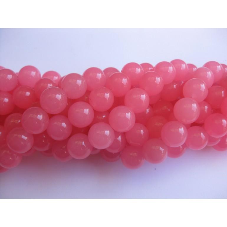 Farvet jade, rose pink rund 12mm-3