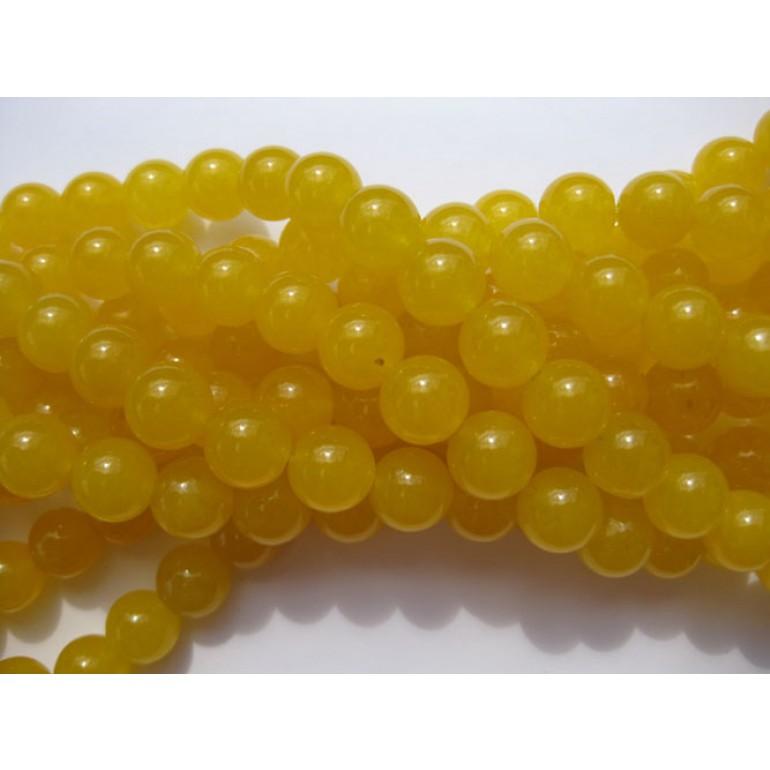 Farvet jade, gul rund 10mm-3