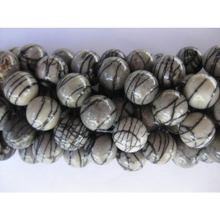 Black veines jaspis perler