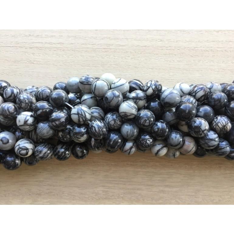 12mm black veined jaspis