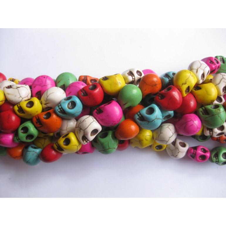 Magnesit skulls, multifarvet 10x12mm-3