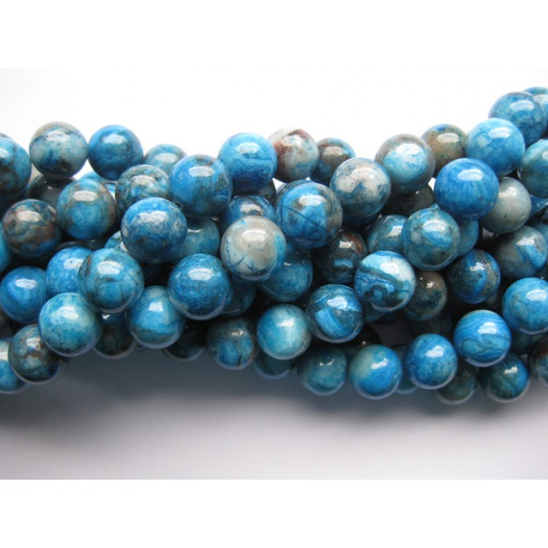Larimar blå crazy lace agat, rund 10mm-3