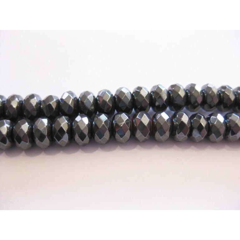 Hæmatit, facetslebne rondeller 6x10mm-3