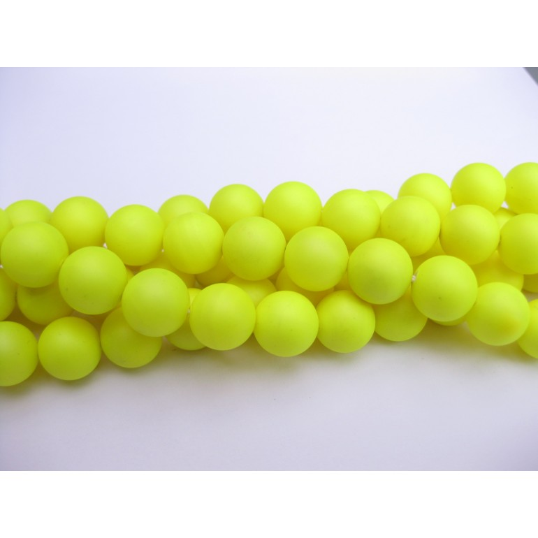 Frosted shell pearl, neon gul 10mm-3