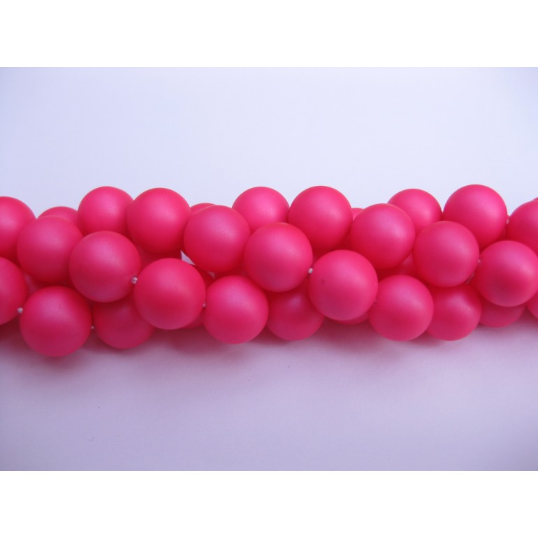 Frosted shell pearl, neon pink 10mm-3