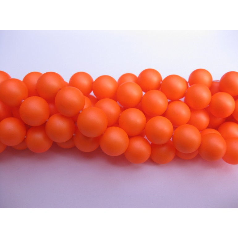 Frosted shell pearl, neon orange 6mm-30