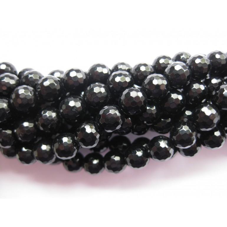 Onyx, sort facetslebet rund 12mm (128 facetter)-3