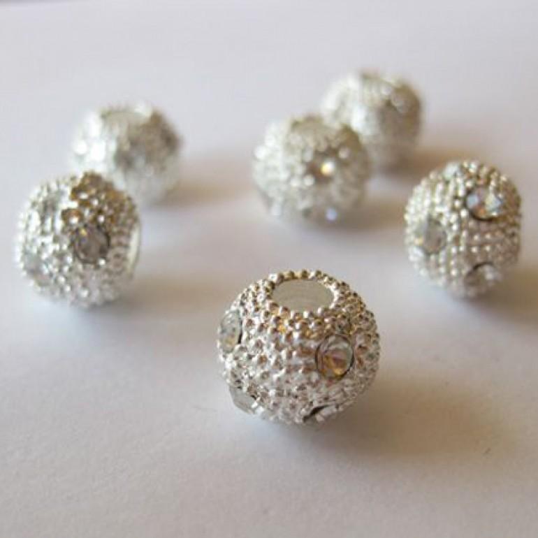 10mm sølvbelagt perle med store rhinsten-3