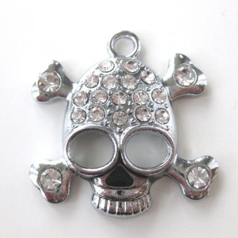 Skull vedhæng med rhinsten-3