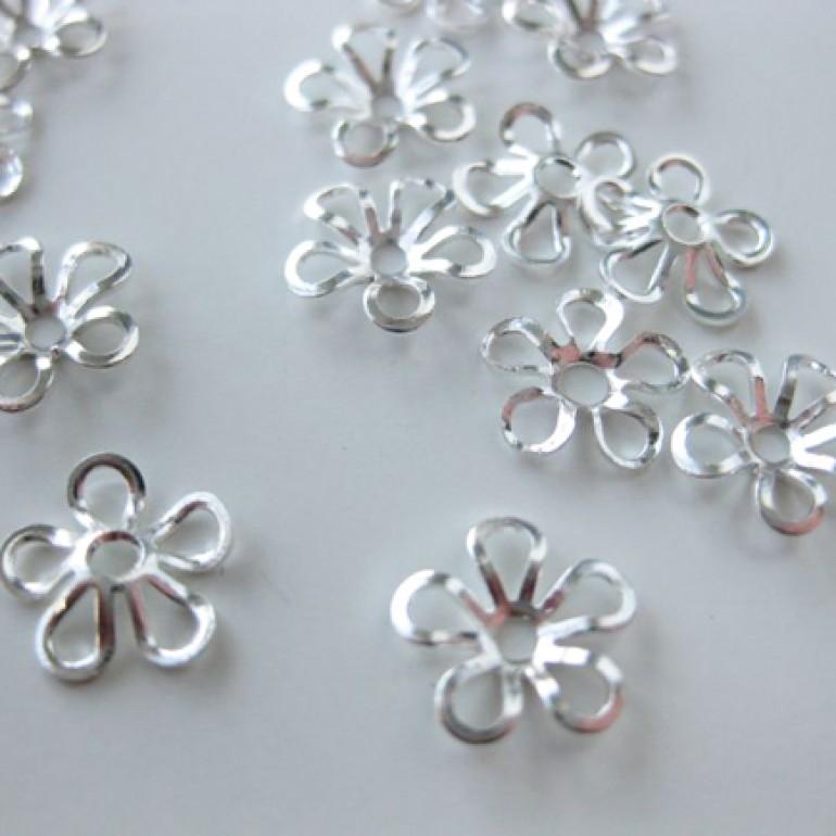 9mm forsølvede blomster perleskåle-3