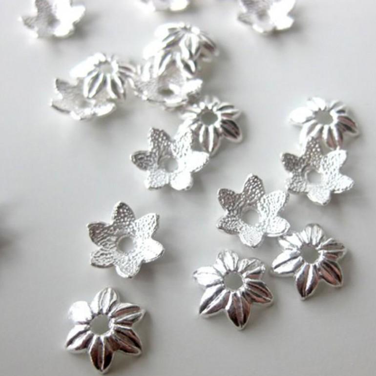 10mm sølvbelagte blomster perleskåle, 20 stk-30
