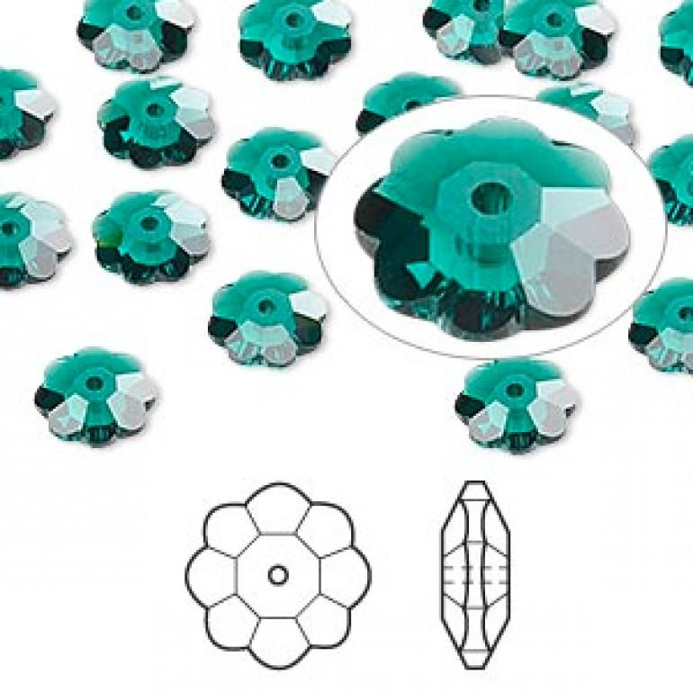 Swarovski® crystal, 8mm marguerite lochrose flower, Emerald-3